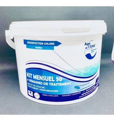 Chlore Bi-couche galet 250g kit complet pour piscine de 50m3 EAU2