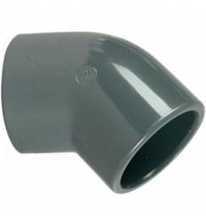 Coude 45° femelle à coller PN16 diamètre 50, 63 mm PVC piscine